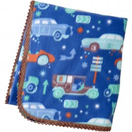 Baby Fleece Blanket with Vintage Car Print and Crochet Lace Trim