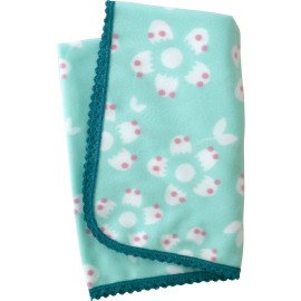 Baby Fleece Blanket with Aqua Winter Blossom and Crochet Lace Trim