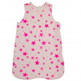 Sleeping bag Neon pink stars
