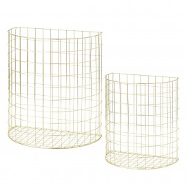 Set of 2 half round wire baskets - gold