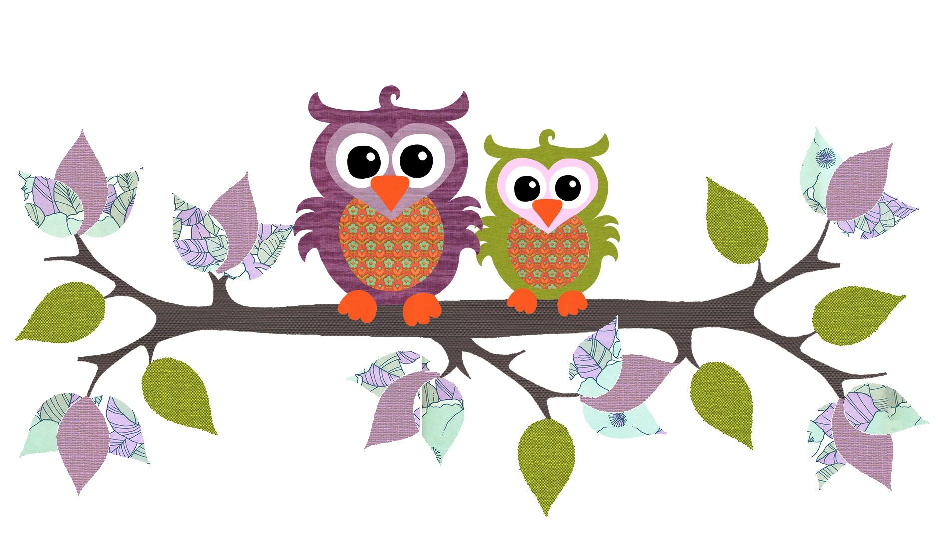Owl with Branch, purple/green retro - Gerber International FZE