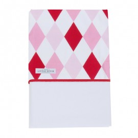 Fitted crib sheet - lozenge pink & red