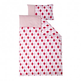 Crib duvet cover - lozenge pink & red