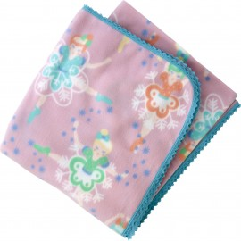 Baby Fleece Blanket with Ballet Dancer Print and Crochet Lace Trim