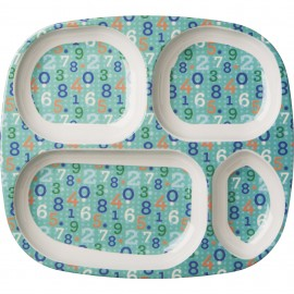 Kids 4 Room Melamine Plate with Retro Numbers Print