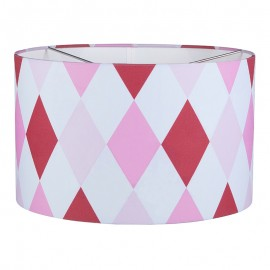 Hanging lamp round - Lozenge pink & red