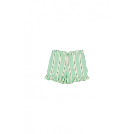 'Retro stripes ' Frills shorts emerald/cream