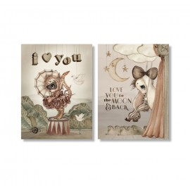Mrs. Mighetto Greeting cards 2 pack - Moon love