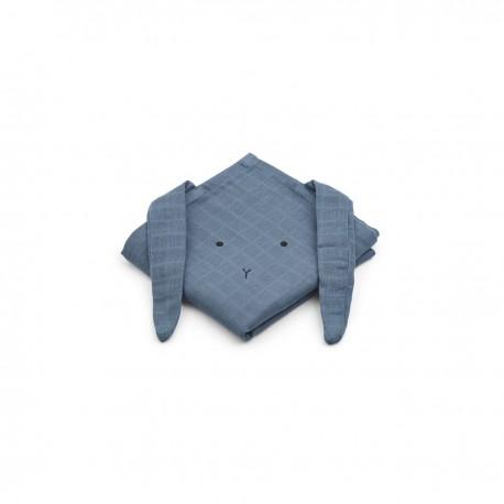 Hannah Muslin Cloth- rabbit blue wave- 2 pack