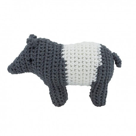 Crochet rattle - Tip the tapir, shadow grey
