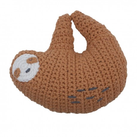 Crochet rattle, Lacey the sloth, tawny brown