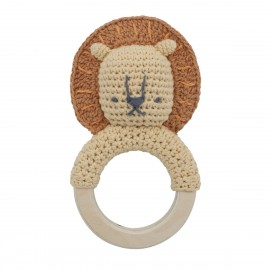 Crochet rattle, Lee on ring, savannah yellow