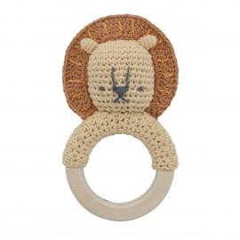 Crochet rattle, Lee on ring, savannah yellow
