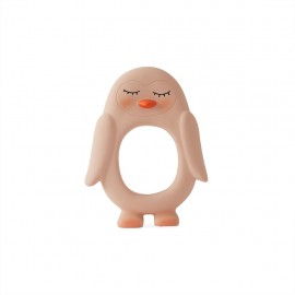 Penguin baby teether - rose