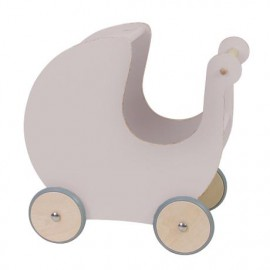 Wooden Doll pram - dusty rose