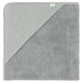 Hooded towel w. wash cloth grain grey