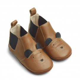 Edith leather slippers - Mr bear mustard