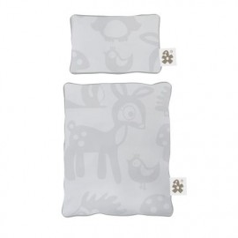 Dolls bed linen - forest grey
