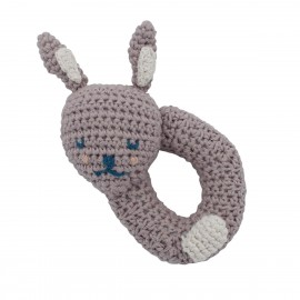 Crochet rattle, Bluebell the Bunny, morning cloud