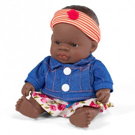 BABY DOLL AFRICAN GIRL 21CM + dress