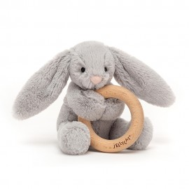 Bashful silver bunny wooden ring toy