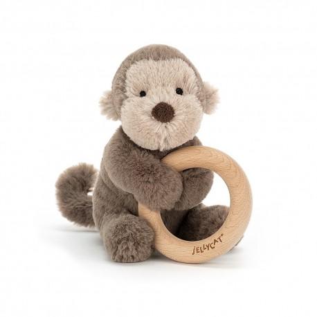 Shooshu monkey wooden ring toy
