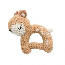 Crochet rattle, Sika the deer, chanterelle yellow
