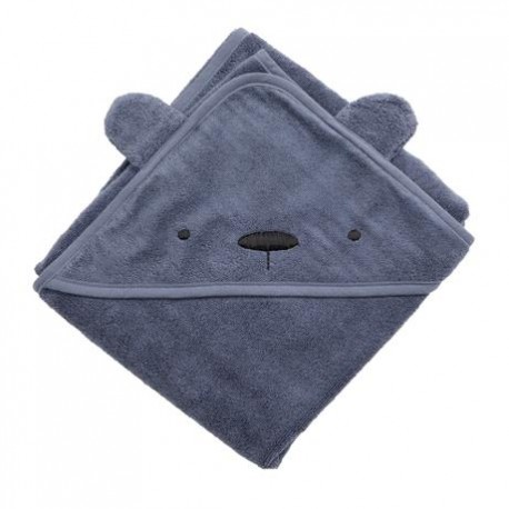 Terry hooded towel, Milo the bear, bramble blue
