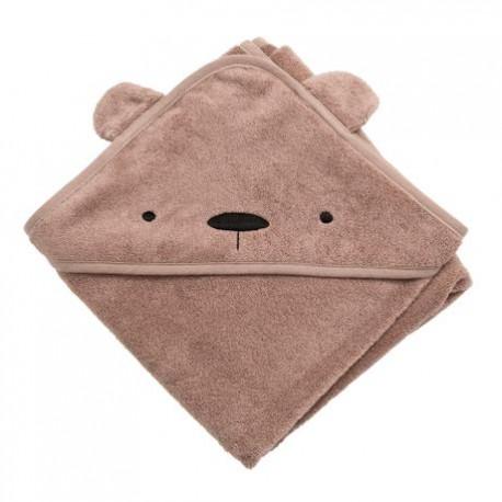 Terry hooded towel, Milo the bear, rustic plum