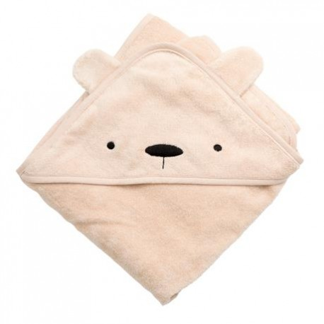 Terry hooded towel, Milo the bear, dusty pink