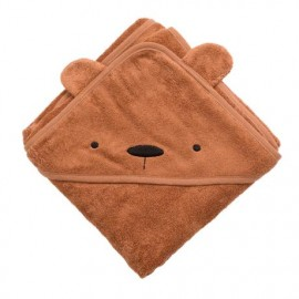 Terry hooded towel, Milo the bear, sweet tea brown