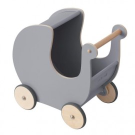 Wooden Doll pram - elephant grey