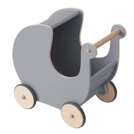 Wooden Doll pram - elephant grey