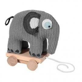 Crochet elephant on wheels - classic grey