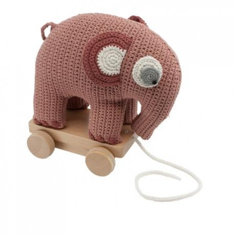 Crochet elephant on wheels - blossom pink