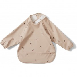 Dinner bib long sleeve - Cherry