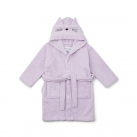 Lily bathrobe - cat light lavender