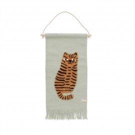 Tiger wall hanging - green