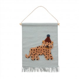 Leopard wall hanging - blue