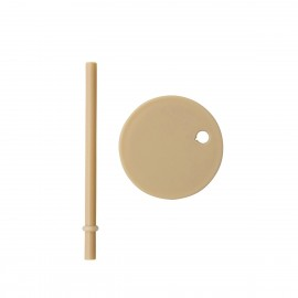 Straw lid beige for drinking glass