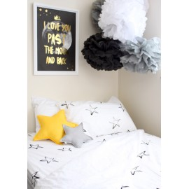 Painted Star Pillowcase - Black/White