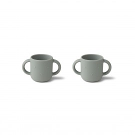 Gene silicone cup - 2 pack - rabbit dove blue