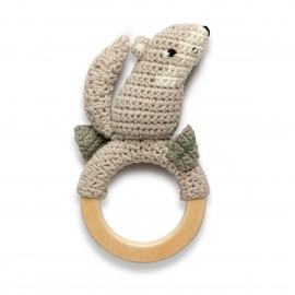 Crochet rattle on ring, Moon the wolf