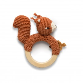 Crochet rattle on ring, Star the squirrel