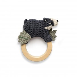 Crochet rattle on ring, Shadow the badger