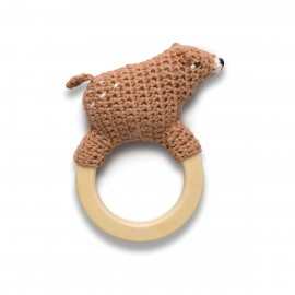 Crochet rattle on ring, Woody the bear