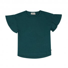 Basics Botanical - t-shirt ruffled short sleeve ribbed