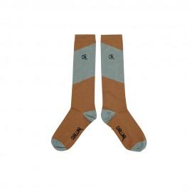 Knee socks - diagonal brown/yellow