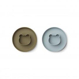 Gordon Plate 2 Pack - Mr bear blue fog/khaki mix