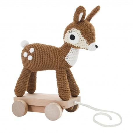 Crochet deer on wheels